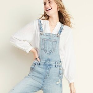 Old navy distressed denim overalls nwt size 6 tall